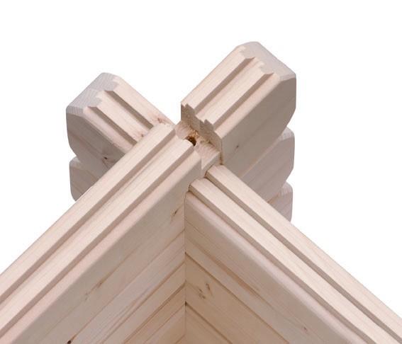 Woodfeeling Holz Gartenhaus Trittau 6 - 38mm Blockhaus Pultdach - Farbe: naturbelassen
