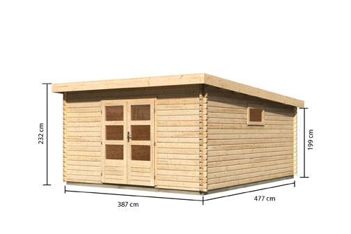 Woodfeeling Holz Gartenhaus Trittau 7 - 38mm Blockhaus Pultdach - Farbe: naturbelassen