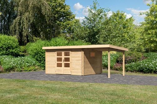 Woodfeeling Holz Gartenhaus Trittau 4 im Set mit Anbaudach 2,2 m - 38mm Blockhaus Pultdach - Farbe: naturbelassen