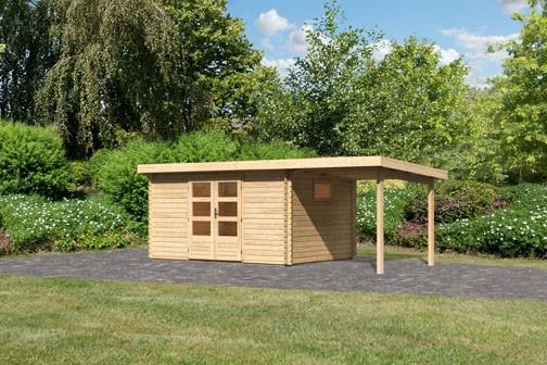 Woodfeeling Holz Gartenhaus Trittau 5 im Set mit Anbaudach 2,2 m - 38mm Blockhaus Pultdach - Farbe: naturbelassen