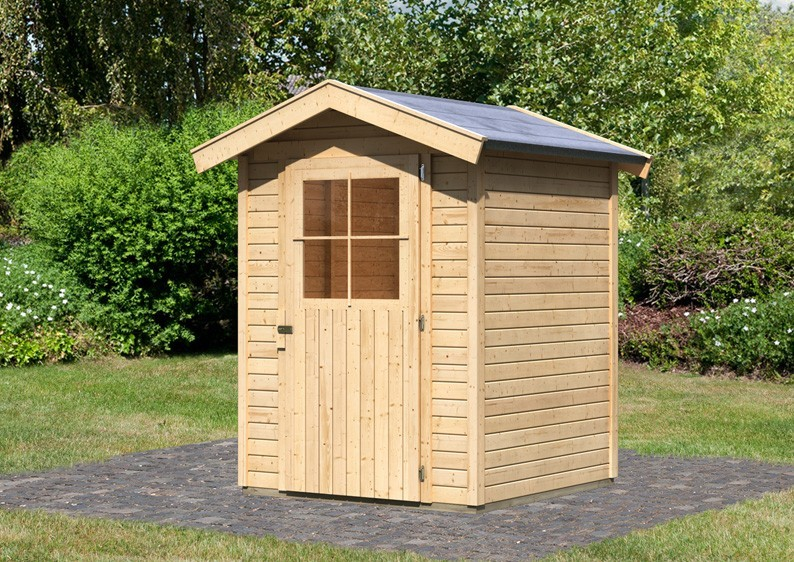 Karibu Holz-Gartenhaus Harburg 1 - 19 mm Schraub- Stecksystem   - naturbelassen