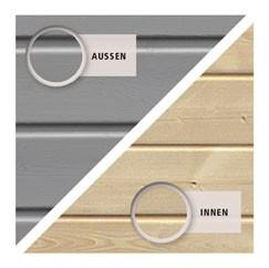 Karibu Holz-Gartenhaus  19mm Qubic im Set mit Anbaudach  seidengrau