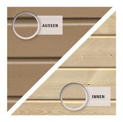 Karibu Holz-Gartenhaus  19mm Qubic im Set mit Anbaudach  sandbeige