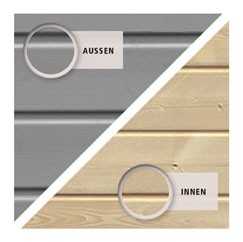 Karibu Holz-Gartenhaus  19mm Qubic 2 seidengrau inkl. Alu-Dachbahnrollen