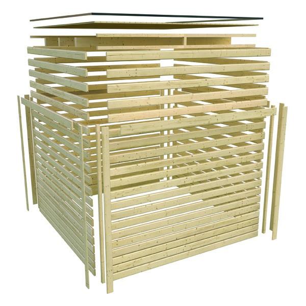 Karibu Holz-Gartenhaus  19mm Qubic 2 im Set mit Anbaudach  seidengrau