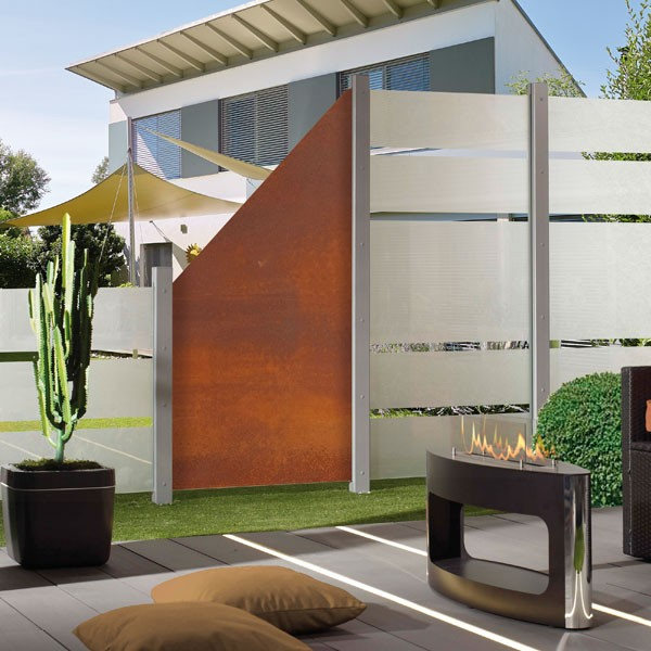 TraumGarten Sichtschutzzaun Glas Komplettset aus Serie System Glas Alpha / Board Rost - 4,18 m