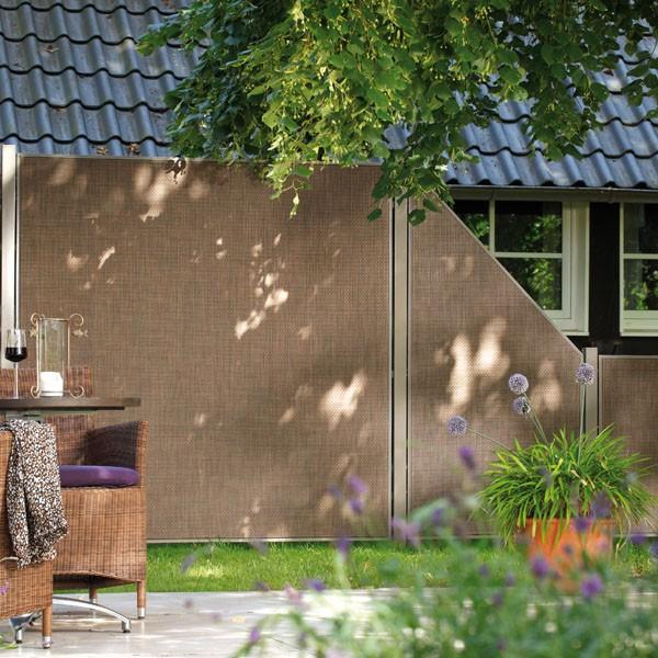 TraumGarten Sichtschutzzaun Geflecht Komplettset aus Serie Weave Lüx bronze - 3,84  m