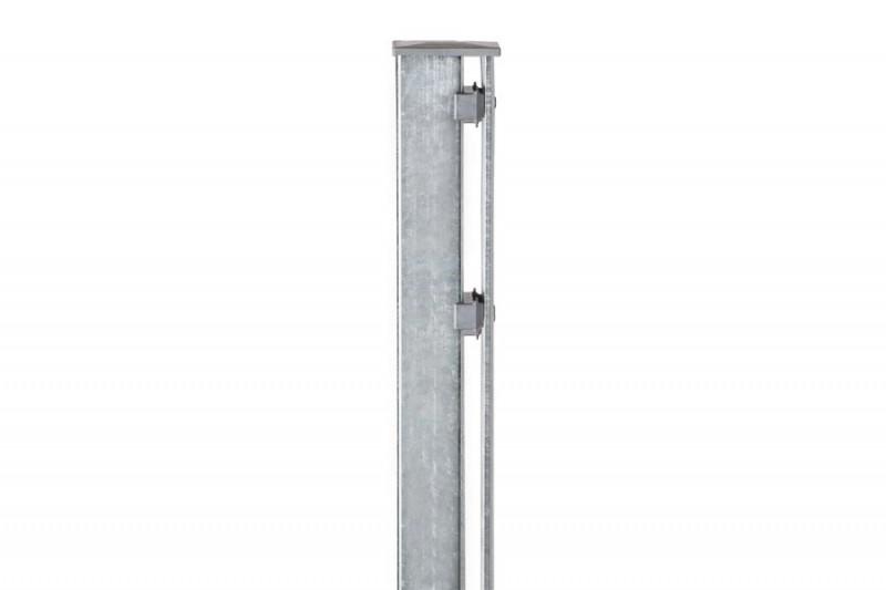 Zaunpfosten Doppelstabgitterzaun Typ P-fix  silbergrau verzinkt - Länge: 1300 mm