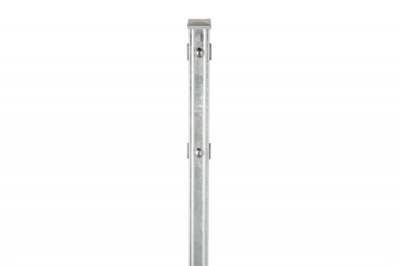 Zaunpfosten Doppelstabgitterzaun Typ P-fix  silbergrau verzinkt - Länge: 2000 mm