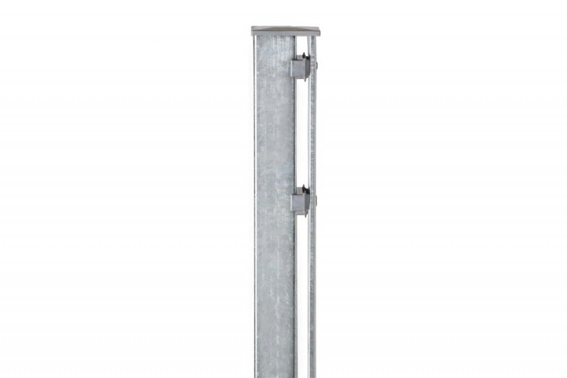 Zaunpfosten Doppelstabgitterzaun Typ P-fix  silbergrau verzinkt - Länge: 2400 mm