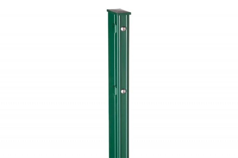 Zaunpfosten Doppelstabgitterzaun Typ P-fix RAL 6005 moosgrün  - Länge: 2600 mm
