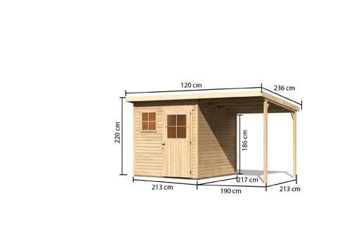 Gartenhaus Ems 3 im Set mit Anbaudach 1,90m breit Farbe: naturbelassen