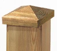 TraumGarten Pfostenkappe Holz Pyramide - 9 x 9 cm