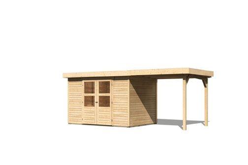 Gartenhaus Ruhr 4  im Set mit Anbaudach 2,40  m Breite Farbe: naturbelassen