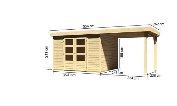 Gartenhaus Saale 5  im Set  mit Anbaudach 2,40  m Breite Farbe: naturbelassen