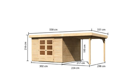 Gartenhaus Saale 6  im Set mit Anbaudach 2,40  m Breite Farbe: naturbelassen