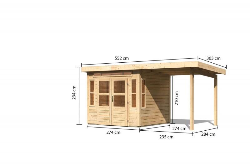 Gartenhaus Hunte 6 im Set mit Anbaudach 2,35 m Breite Farbe: naturbelassen