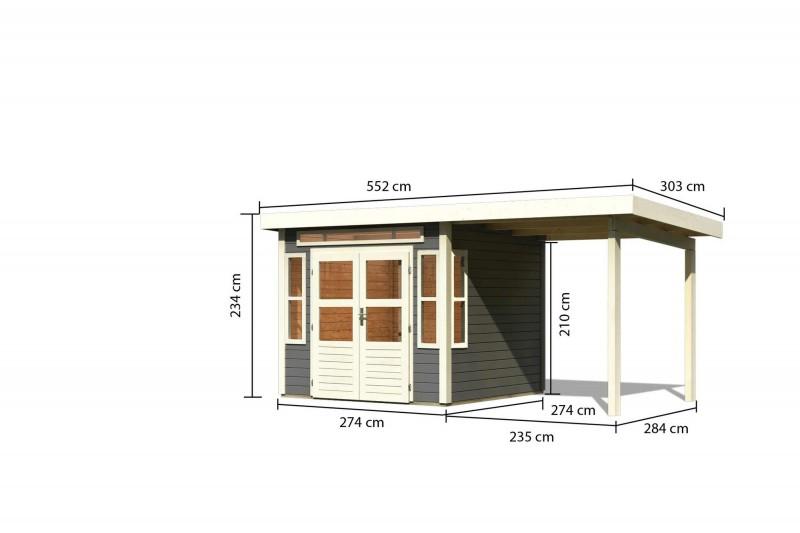 Gartenhaus Hunte 6 im Set mit Anbaudach 2,35 m Breite Farbe: terragrau
