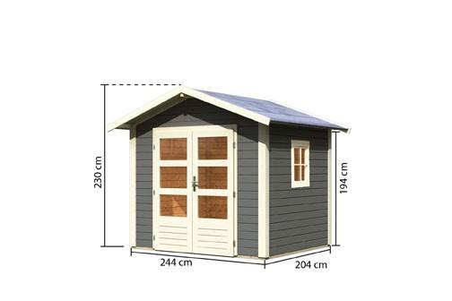 Gartenhaus Set Naab Farbe: terragrau - inkl. Fenster