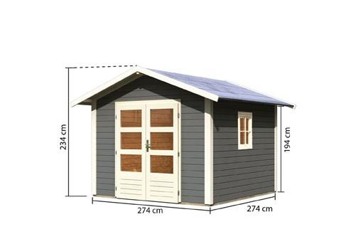 Gartenhaus Set Leine 2  Farbe: terragrau - inkl. Schineln rot und Fenster