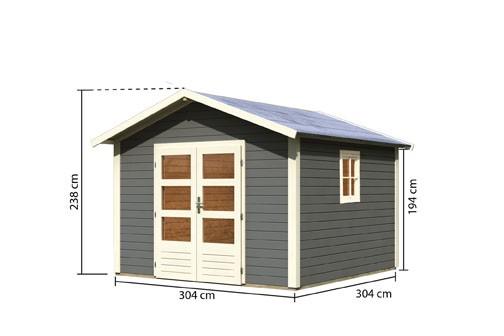 Gartenhaus Set Leine 3  Farbe: terragrau - inkl. Fenster