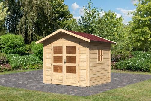 Gartenhaus Seet Naab Farbe: naturbelassen - inkl. Dachschindeln Rechteck rot und Fenster