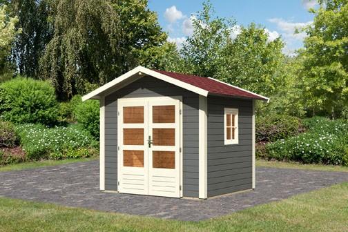 Gartenhaus Set Naab Farbe: terragrau- inkl. Dachschindeln Rechteck rot und Fenster