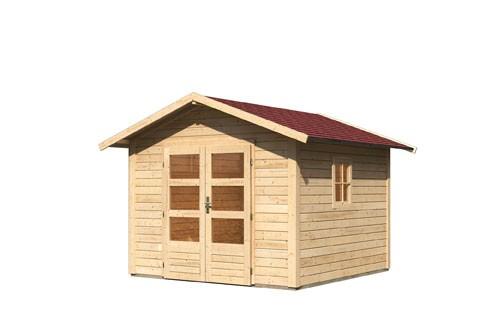 Gartenhaus Set Leine 2  Farbe: naturbelassen- inkl. Dachschindeln Rechteck rot und Fenster