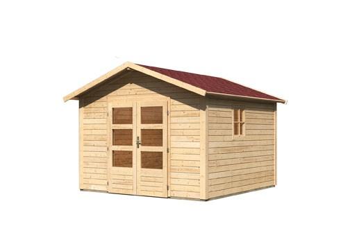 Gartenhaus Set Leine 3   Farbe: naturbelassen- inkl. Dachschindeln Rechteck rot und Fenster