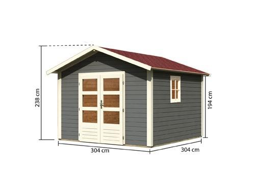 Gartenhaus Set Leine 3  Farbe: terragrau- inkl. Dachschindeln Rechteck rot und Fenster