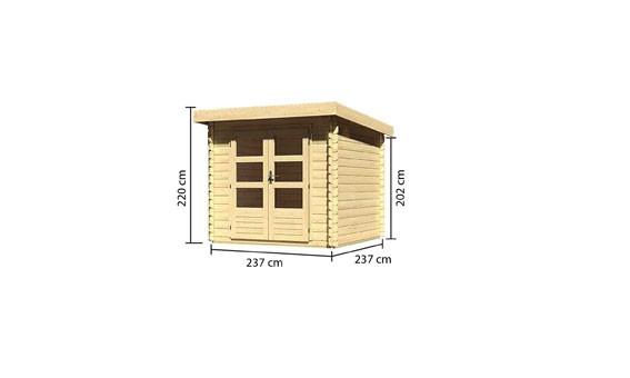 Gartenhaus Set Loisach 2 Farbe: naturbelassen- inkl. Dachschindeln Rechteck rot und Fenster