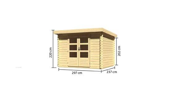 Gartenhaus Set Loisach 3 Farbe: naturbelassen- inkl. Dachschindeln Rechteck rot und Fenster