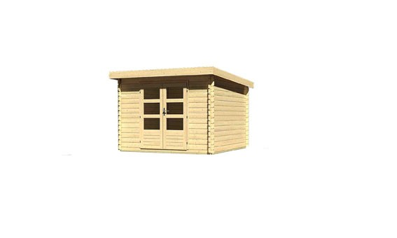 Gartenhaus Set Loisach 5 Farbe: naturbelassen- inkl. Dachschindeln Rechteck rot und Fenster