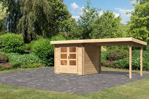 Gartenhaus Loisach 2 im Set mit Schleppdach 3 m breit Farbe: naturbelassen