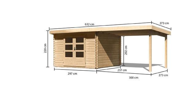 Gartenhaus Loisach 3 im Set mit Schleppdach 3 m breit Farbe: naturbelassen