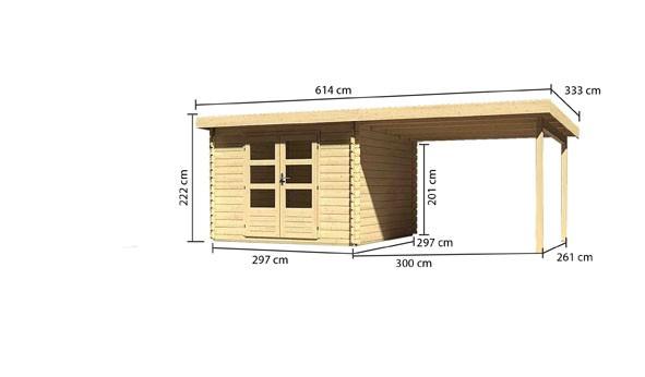 Gartenhaus Loisach 5 im Set mit Schleppdach 3 m breit Farbe: naturbelassen