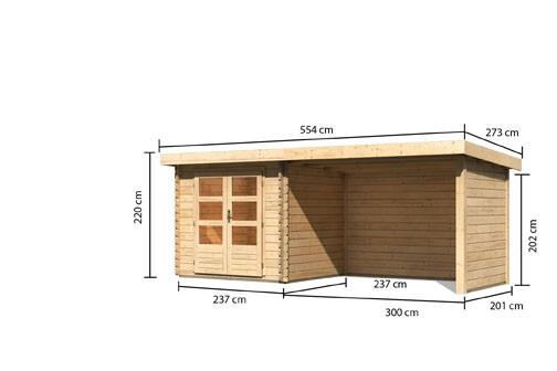 Gartenhaus Loisach 2 im  Set mit Schleppdach 3 m breit, 28 mm Seiten - und Rückwand Farbe: naturbelassen