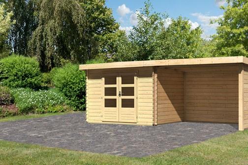 Gartenhaus Loisach 3 im  Set mit Schleppdach 3 m breit, 28 mm Seiten - und Rückwand Farbe: naturbelassen