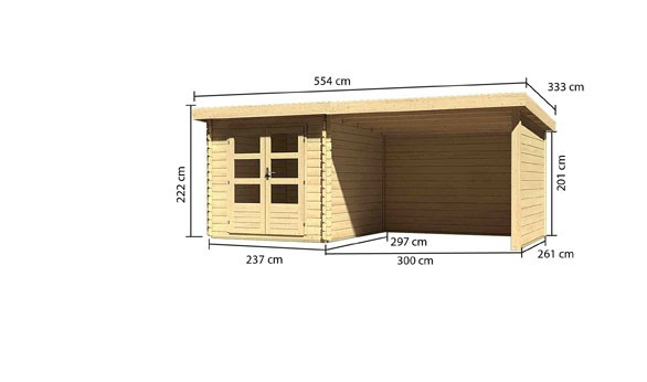 Gartenhaus Loisach 4 im  Set mit Schleppdach 3 m breit, 28 mm Seiten - und Rückwand Farbe: naturbelassen