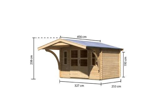 Gartenhaus Set  Rems 3 Farbe: naturbelassen - inkl. Vordach 1,80 tief und Kunstglasfenster