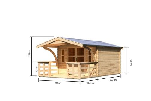 Gartenhaus Set Rems 4 Farbe: naturbelassen- inkl. Vordach 1,80 tief und Rundbogen, Terrasse und Fenster