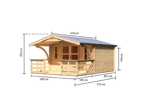 Gartenhaus Set Rems 5 Farbe: naturbelassen- inkl. Vordach 1,80 tief und Rundbogen, Terrasse und Fenster