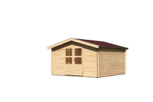 Gartenhaus Set Möhne 6 Farbe: naturbelassen - inkl. roter Rechteckschindeln +  Fußboden