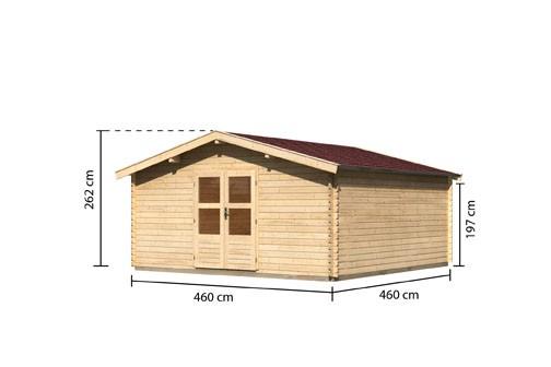 Gartenhaus Möhne 9 Farbe: naturbelassen - inkl. roter Rechteckschindeln +  Fußboden