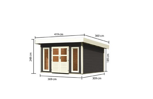Gartenhaus Salzach 4 Farbe: terragrau - inkl. Dreh- Kipp-Fenster
