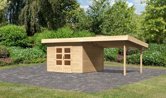 Gartenhaus Salzach 3 Farbe: naturbelassen mit Schleppdach 3 m breit