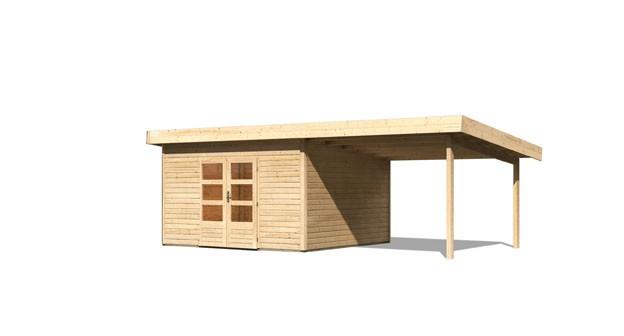 Gartenhaus Salzach 5 Farbe: naturbelassen mit Schleppdach 3 m breit