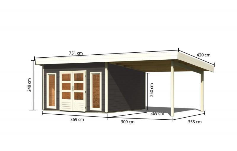 Gartenhaus Salzach 5 Farbe: terragrau mit Schleppdach 3 m breit