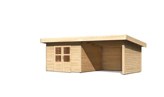 Gartenhaus Salzach 3 Farbe: naturbelassen mit Schleppdach 3 m Breite; Rückwand, Seitenwand