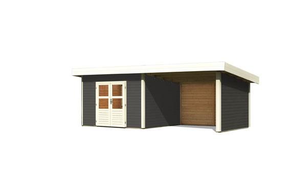 Gartenhaus Salzach 3 Farbe: terragrau mit Schleppdach 3 m Breite; Rückwand, Seitenwand